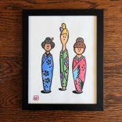 """Kokeshi"" Block Print / Art Medium: Block Print, Water Color"